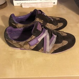 Purple and brown velcro Coach sneakers